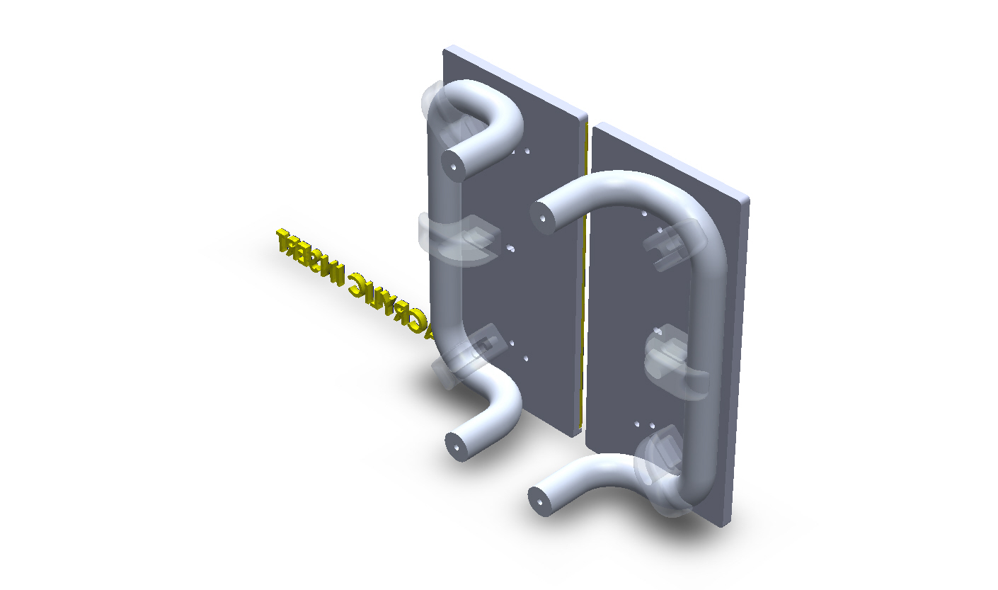 Customize Square Aluminum Split Plate For Double Doors-Offset Style Handles