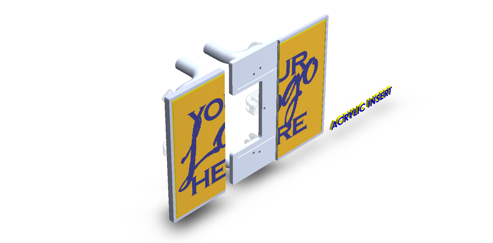 Square Aluminum Sliding Split Plate Door Handles
