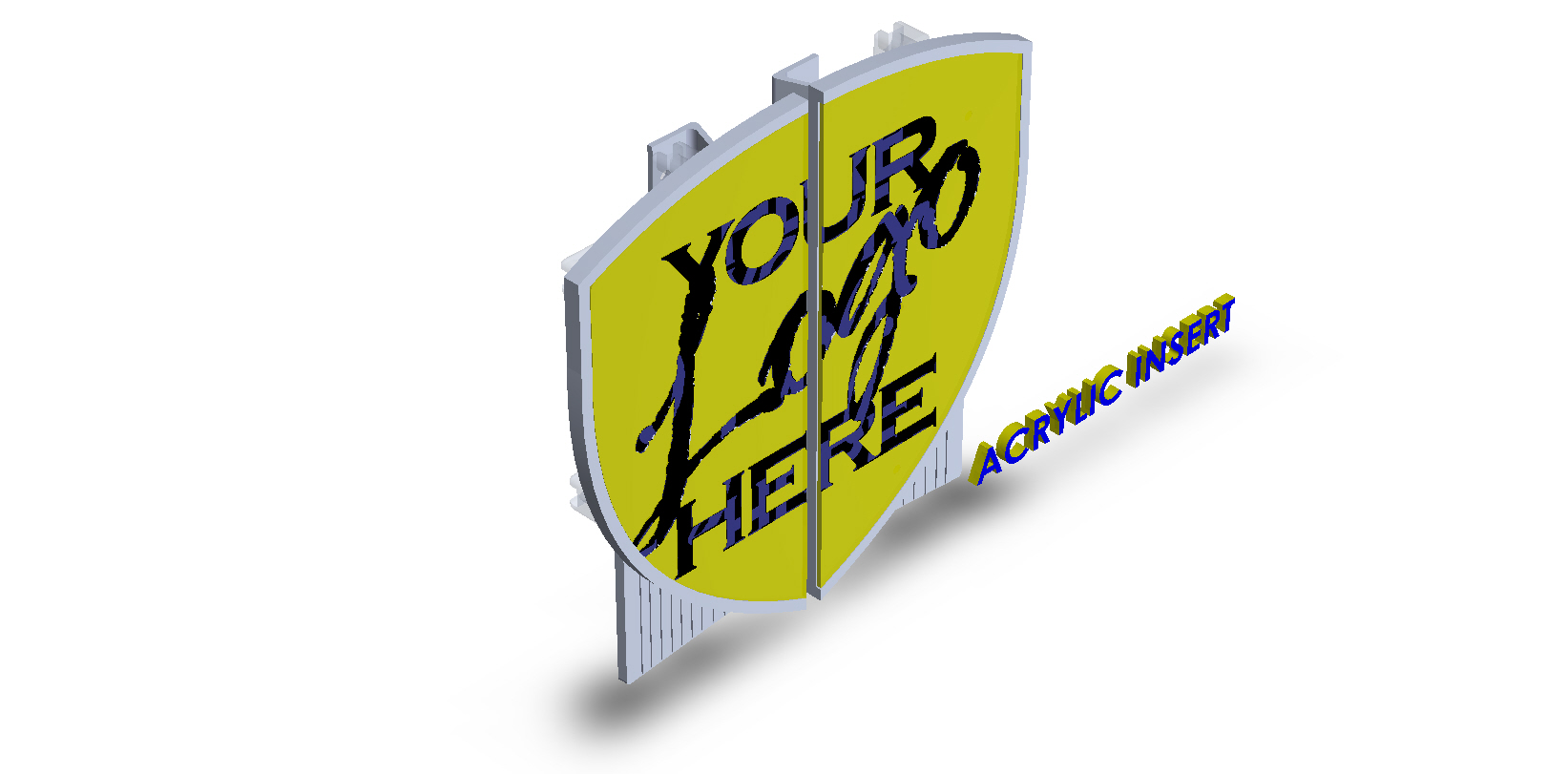 Customize Shield Shape Aluminum Split Plate with Acrylic Insert- printed image Small Businesses